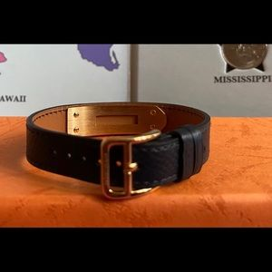 Hermes Accessories - HERMES Dark Blue Leather Replacement Strap
